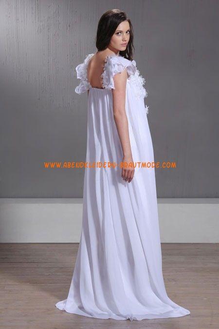 Günstiges Brautkleid für Schwangeren aus Chiffon mit Ärmel hochtaille