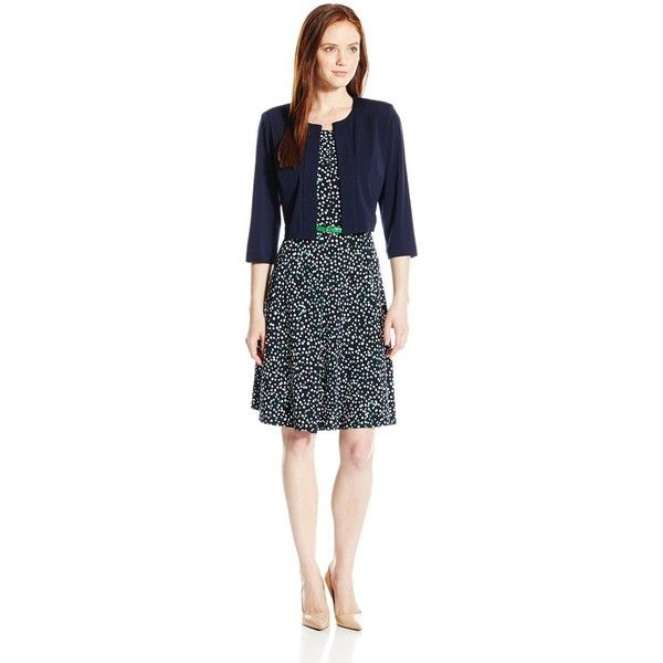 Jessica Howard Women's Petite Two-Piece Jacket and Dress (€85) ❤ liked on Polyvore featuring dresses, petite, no sleeve dress, petite dresses, jessica howard, jessica howard dresses and 2 piece dress