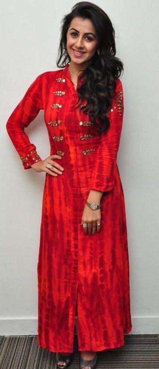 Mirror worked red long kurti