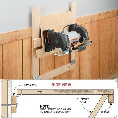 """Space-Saving Workstation by Woodsmith eTips -- Homemade space-saving, wall-mounted workstations that fold nearly flat when not in use. Constructed from 3/4"""" hardwood lumber, with a 3/4"""" plywood top. http://www.homemadetools.net/homemade-space-saving-workstation-2"""