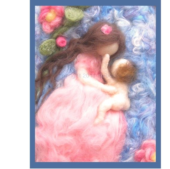 Printed Note Card - My Mother's Face-image from wool painting - printed Greeting Card   Rebecca Varon