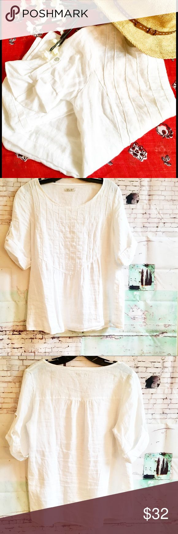 LINA TOMEI WHITE SHORT SLEEVE TOP, SIZE MEDIUM MADE IN ITALY 100% linen white top.  Front is pin tucked.  Short sleeve.   Chest is 19.5 and length is 25.5.  HARDLY WORN. Tops