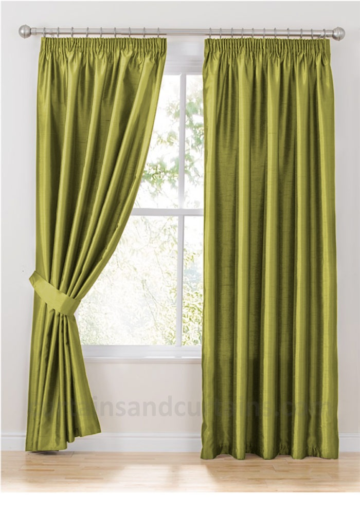 Chartreuse Green Faux Silk Curtains