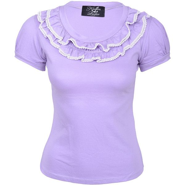 Burlesque RUFFLE Rüschen Lace Collar SHIRT - Flieder Rockabilly | eBay ❤ liked on Polyvore featuring tops, frilled top, rockabilly shirts, frilly shirt, frill top and purple top