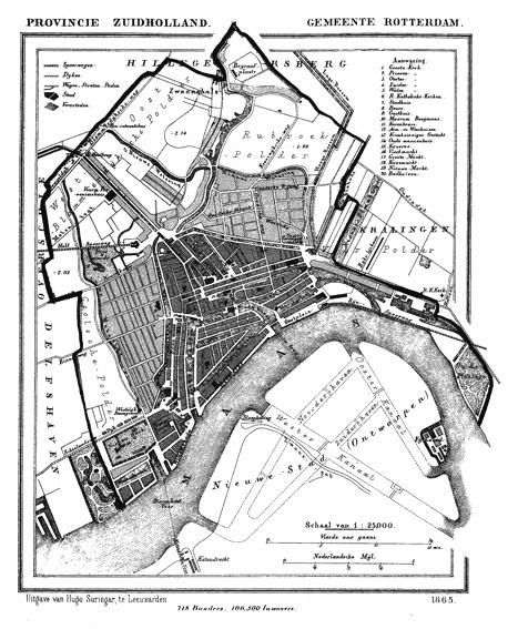 1865 Oude Stadskaart Rotterdam