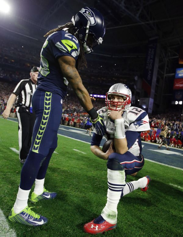 Richard Sherman, Tom Brady combine for the defining photo of Super Bowl XLIX In a reversal of the U MAD BRO photo, Richard Sherman and Tom Brady met again.