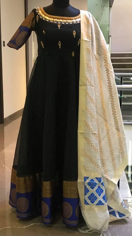 492cbc3803 Beautiful black color floor length anarkali dress with hand embroidery kasu  and gold thread work on neck line. Price : 7800 INR.