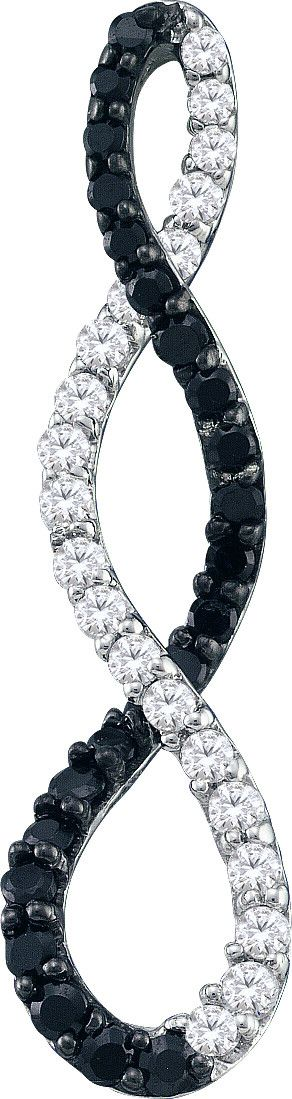 10kt White Gold Womens Round Black Colored Diamond Infinity Fashion Pendant 3/8 Cttw
