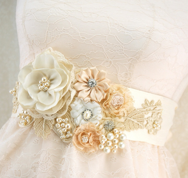 Bridal Sash in Ivory, Champagne and Light Gold with Dupioni Silk, Lace, Pearls and Crystal Jewels- Vintage Dream. via Etsy.