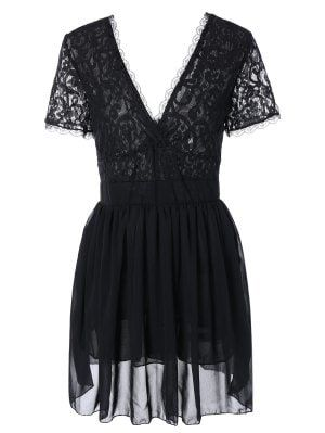 Lace Spliced Plunging Neck Sexy Birthday Dress - Black S