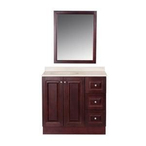 Glacier Bay, Northwood 36 in. Vanity in Dark Cherry with Composite Vanity Top in Maui and Matching Mirror, NW36P3COM-DC at The Home Depot - Mobile