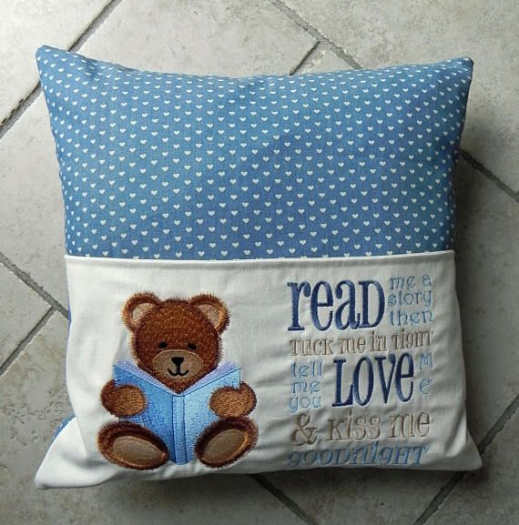 Child s cushion with reading book pocket machine