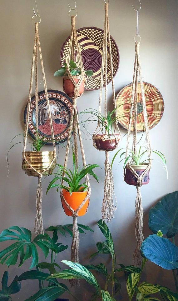 JONI Simple Jute Macramé Plant Hangers//Minimalist Elegant Boho Hippie Mid Century Modern Bohemian Planter Hanging Macramé Hanger