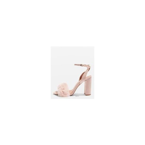 Topshop Maison Faux Fur Block Heel Sandals ($42) ❤ liked on Polyvore featuring shoes, sandals, colorblock shoes, nude heeled sandals, high heels sandals, faux fur sandals and color block sandals
