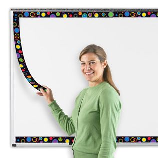 Redecorating your whiteboard is a snap with these durable magnetic borders!   Or... Take regular borders, laminate them, and adhere magnet tape pieces every few inches to brighten up the white board!