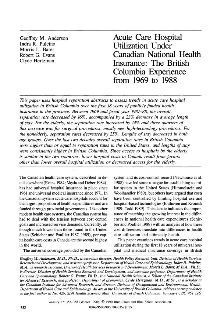 Page 352 of Acute Care Hospital Utilization Under Canadian National Health Insurance: The British Columbia Experience from 1969 to 1988