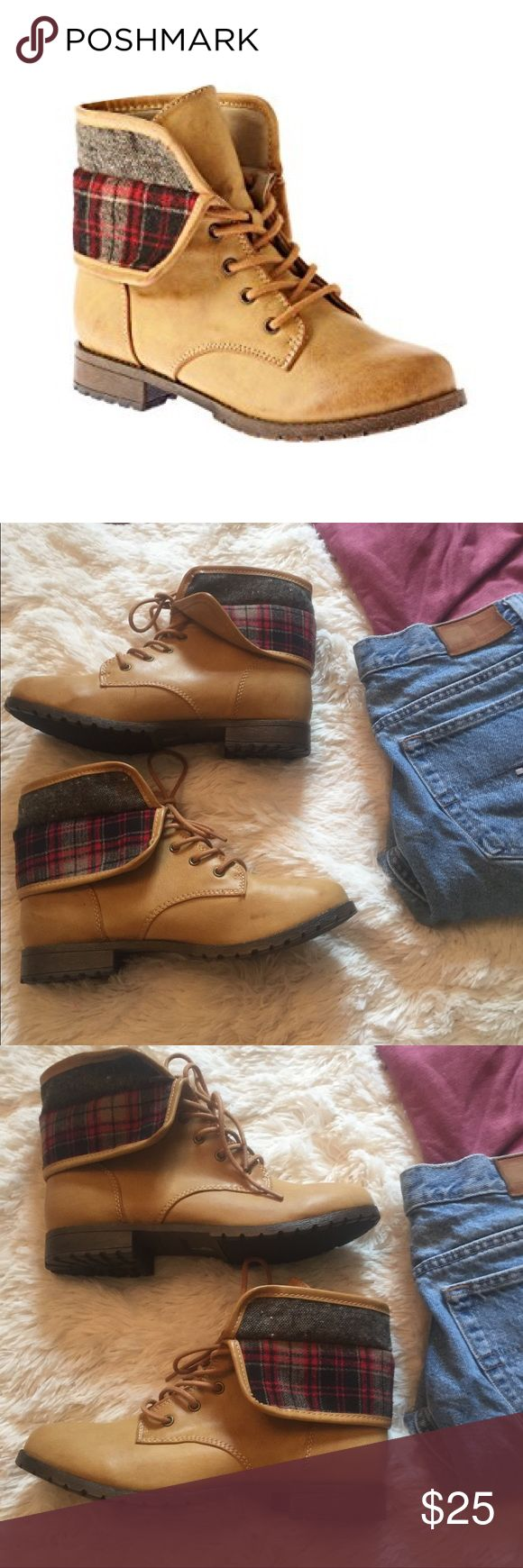 Rampage Jackson plaid accent Boots size 9 Rampage Jackson boots NWOB. Tan with plaid accents. Lace up style. Adorable and perfect for fall! Faux leather. Reasonable offers always accepted. Rampage Shoes Combat & Moto Boots