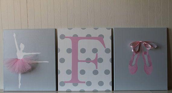 Baby Girl Nursery Decor Ballerina Nursery Art by JoanitaBonita, $130.00