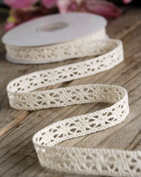 Ivory Cotton Lace Ribbon 1/2 width White 10 yards $5.50