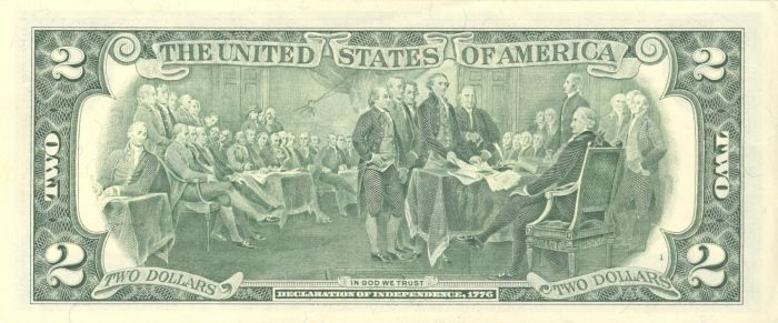 """The Declaration of Independence"", painted by John Trumbull is the source of the picture on the reverse of the United States two-dollar bill."