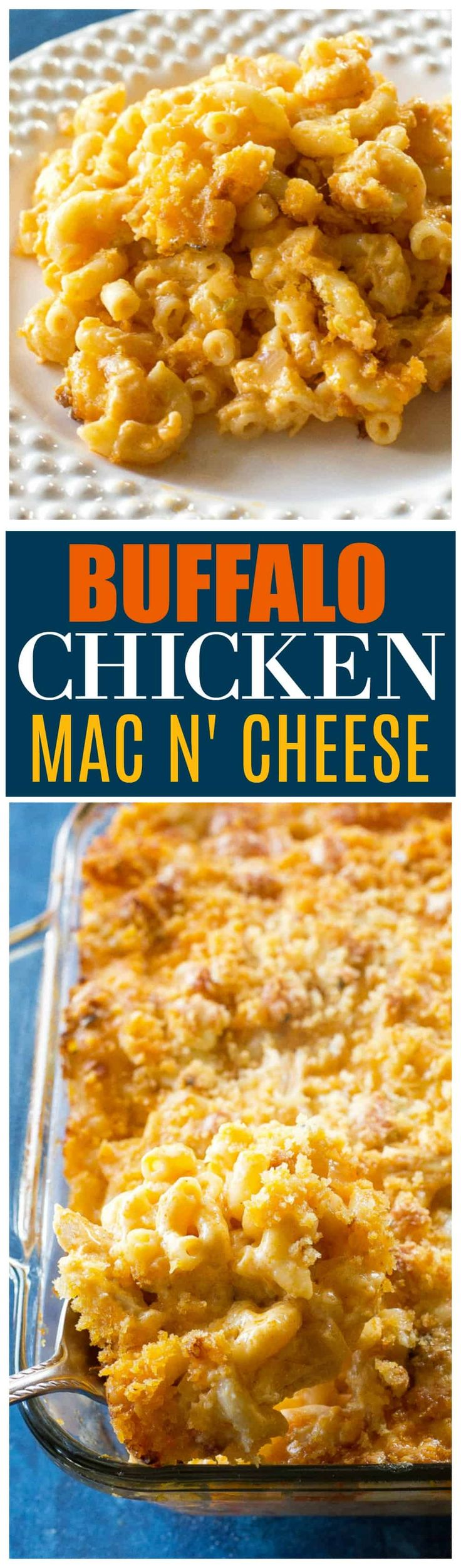 Buffalo Chicken Macaroni and Cheese - spicy, cheesy macaroni and cheese with a blue cheese crust on top. the-girl-who-ate-everything.com