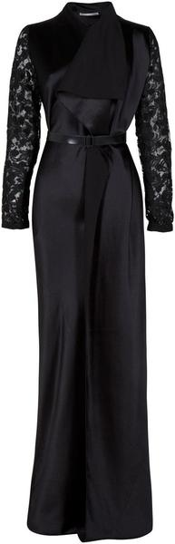 Sculpted Abaya with Lace Sleeves