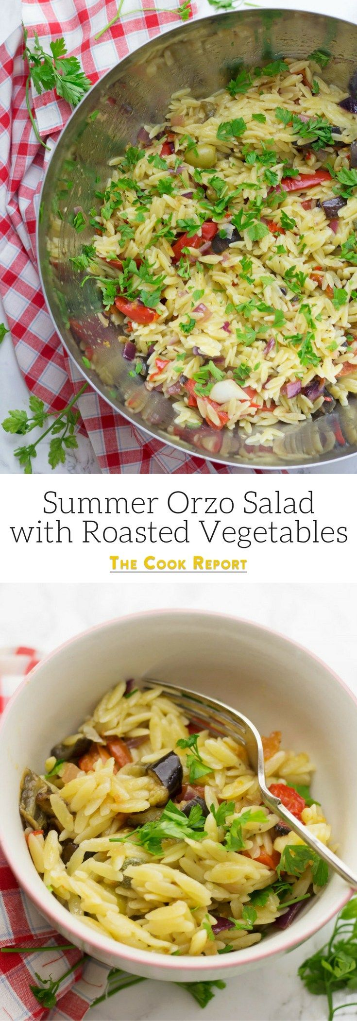 This summer orzo salad with roasted vegetables is the perfect thing to take along to your next barbecue. A great mix of tangy capers and sweet roasted veg.