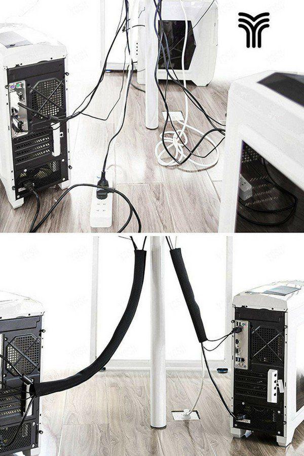 Cacher les c/âbles pour Regrouper Les C/âbles Gaine de C/âble TV Audio Ordinateur USB Vid/éo Box,50cm Flexible Rangement Cache Cable