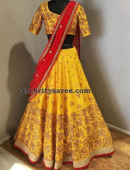 Yellow Zardosi Work Half Saree - Saree Blouse Patterns