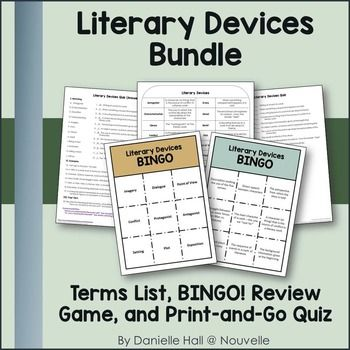 Literary Devices Bundle Vocabulary List Bingo And Quiz Nouvelle