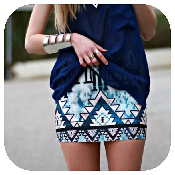 Aztec print skirt!