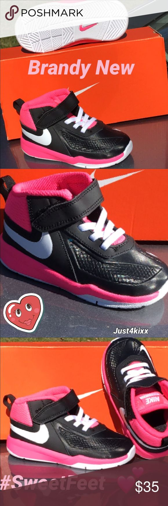 New Toddler Girls Sneaker 💕🦋💕🦋💕🦋💕 New Nike black pink mid with h&l closure... they run a bit small so please consider that when buying...💕💕💕💕💕💕💕💕💕💕 Nike Shoes Sneakers