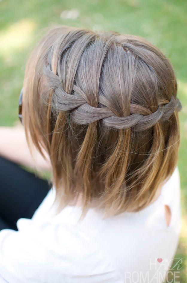 Urlaub Frisuren Kurze Haare Wasserfall Zopf Niedliche Diy Frisuren Fur Chris Frisuren Geflochtene Frisuren Frisur Ideen Schone Frisuren Kurze Haare