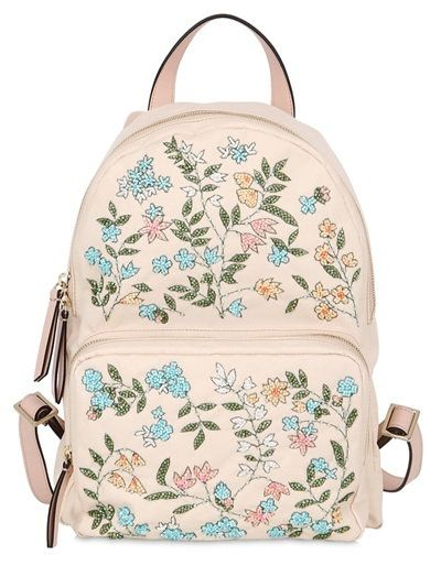 RED VALENTINO - FLOWER EMBELLISHED NYLON BACKPACK - LUISAVIAROMA - LUXURY SHOPPING WORLDWIDE SHIPPING - FLORENCE