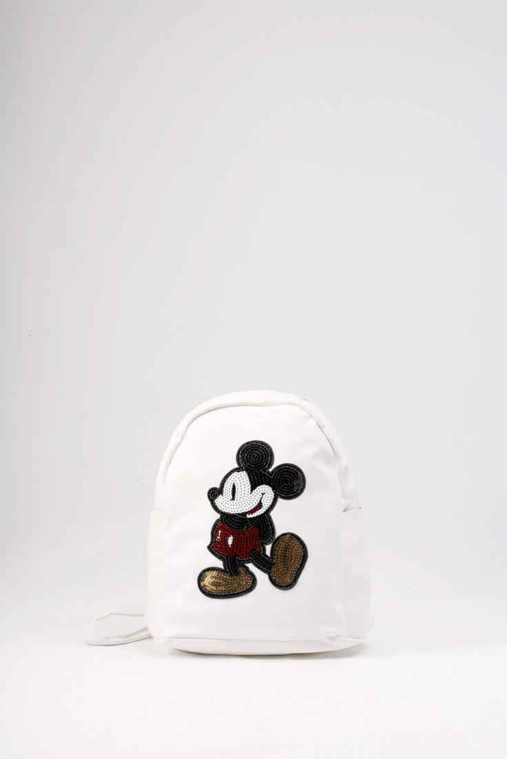Σακίδιο πλάτης λευκό με σχέδιο του Μίκυ από κεντημένες πούλιες. ΚΩΔ.: 717.030 ΤΗΛ: 2510 241726