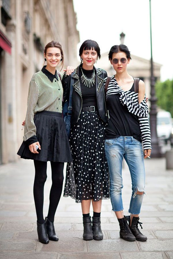 Fall 2012 Couture Street Style: Feminine black basics paired with rugged leather elements is the quintessential Parisian girl's go-to uniform.