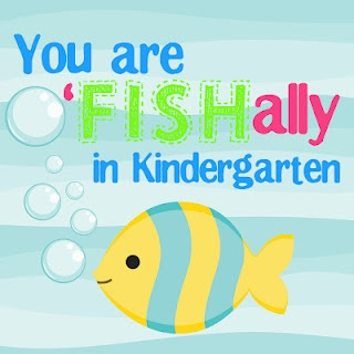 "welcome to kindergarten, o ""fish"" ally a kindergartener gift tags for the first day of school"