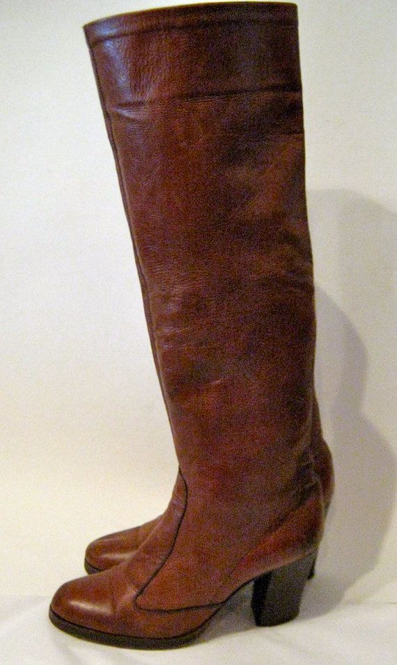 #AMBY .....THESE WILL FIT YOU!!    Vintage 1960s KNEE HIGH Genuine Leather Boots by EatDiamonds, $20.00