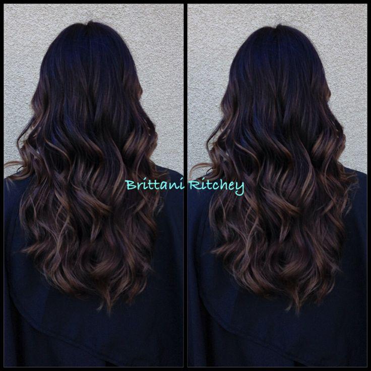 Dark Dark brown with Carmel balayage highlights