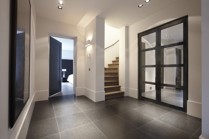 clean white entrance hall, grey Belgian Blue slate floor | beautiful lighting