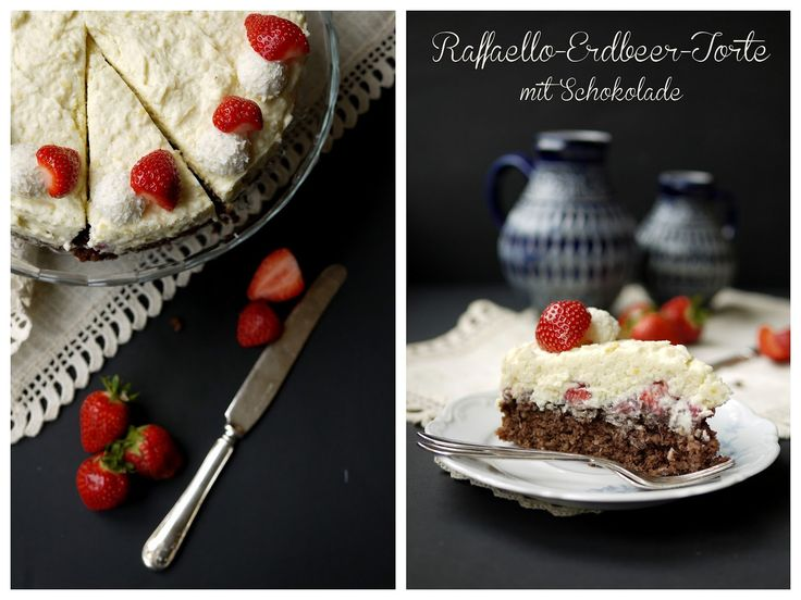Erdbeeren, Raffaello, Schokolade, weiße Schokolade, Kokos, Nutella, Erdbeer-Raffaello-Torte, Frischkäse