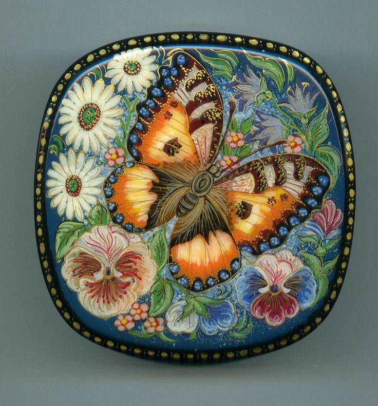 "Russian Lacquer Box Kholui ""Butterfly on Flowers "" Hand Painted 
