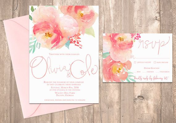Watercolor Peony Wedding Invitation, Blush Pink - PRINTABLE - Digital Files