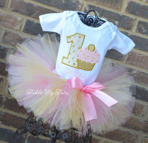 Light Pink and Gold Birthday Cupcake Tutu Outfit-First Birthday Cupcake Tutu Set-Pink and Gold First Birthday Tutu Set