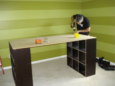 Yet another DIY craft table made from cubicles