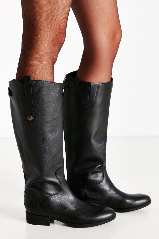 004a0c0b1e87 SAM EDELMAN Penny 2 Riding Boots Tall Leather Wide Calf WC Black Boot 8   SamEdelman  Military