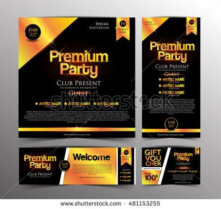 Gold Premium Party Invitation Card, Golden Ticket and Gift Voucher. Design Template. Vector Illustration