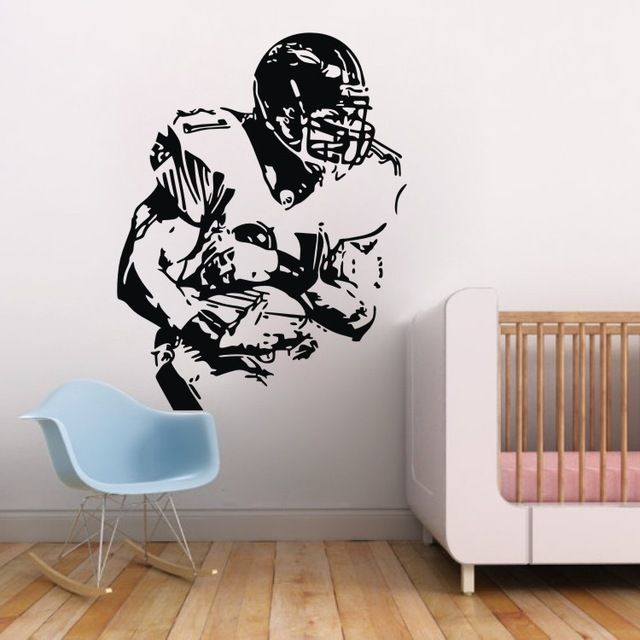 High Quality Football Player With Ball Sports Football Wall Decals Modern Kids Decor Photo Gallery