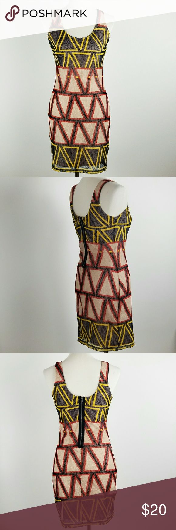 """Bar III Aztec Print Lace Sleeveless Mini Dress Lace Sheath Dress with neutral slip lining  Red, Black, and Yellow colors  Size Medium listed on tag  Measurements  Armpit to armpit: 16 1/2"""" Length from shoulder: 34"""" Waist: 14"""" Bar III Dresses Mini"""