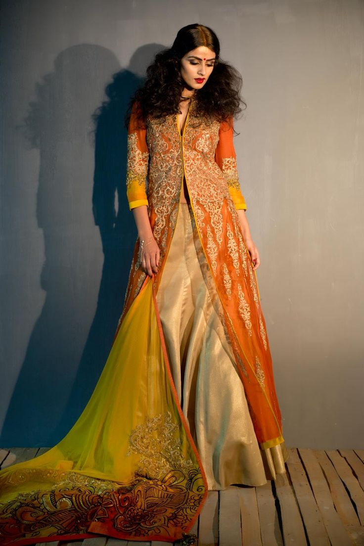 #Bride or #bridesmaid, this front open long jacket with beautiful dupatta is a must have for you. Each girl desires to be the best and this pair of gold lehenga can give you the best look. So buy now designer bridal lehengas online at http://www.satyapaul.com/bridal/lehengas.html